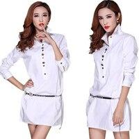 Moda kobiety elegancki słodki biały bluzki turn down collar urząd pracy wear koszule casual bluzki blusa feminina hot sprzedaż