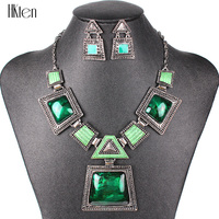 MS17025 Brand Jewelry Sets Antique Silver Plated Green Color Necklace Set Bridal Jewelry Unique Design 2014