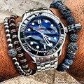 24K Gold Plated Famous Brand Men's Bracelet Handmade Natural Stone Beads Skull Bracelets & Bangles Spartan Warrior Men Jewelry