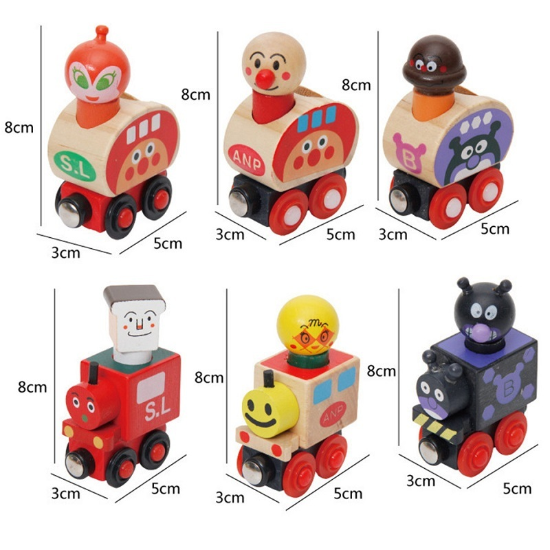 Wooden Montessori Anpanman Magnetic Train 6PCS set Kids Toys For Children Oyuncak Speelgoed Brinquedos Menina Brinquedo Juguet53 in Blocks from Toys Hobbies