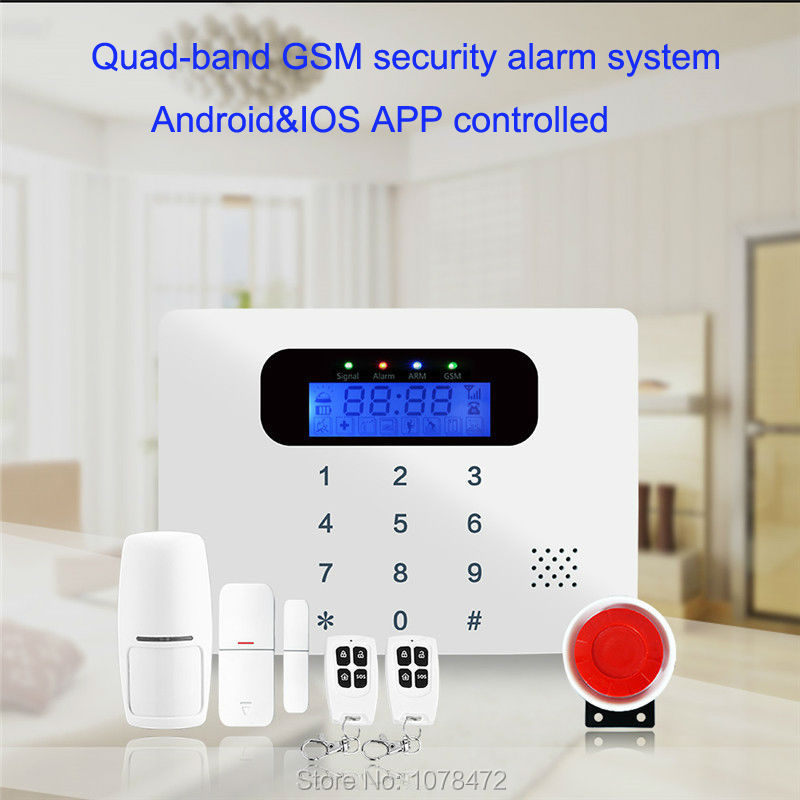 Quad-band GSM alarm with Touch keypad Android&IOS APP controlled home alarm system with voice in 7 languages for option quad band gsm one click alarm system with sos key phone