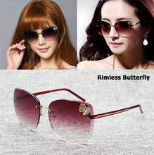 JackJad 2017 Fashion Women Butterfly Decoration Gradient Rimless Sunglasses Vintage Butterfly Sun Glasses Oculos De Sol Feminino