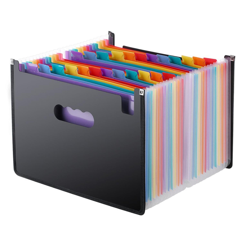 Expanding File Folder 24 Pockets, black Accordion A4 folder Document Organizer a4 file organizer 13 pockets plastic expanding wallet accordion folders letter size portable document handbag holder