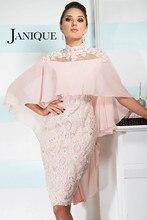 High Neck Brautkleider 2017 Spitze Applique Knielangen Schmetterling Ärmel Mantel Sheer Zurück Abendgesellschaft Kleider Kurze 5301705