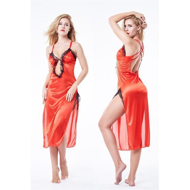 Wholesale Women Spring Summer Spaghetti Strap Lace Nightdress Side Split Cheongsam Deep V Neck Silk Sleepwear Sexy Lingerie