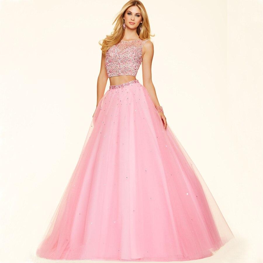 De dos piezas de baile vestidos Pink Prom vestidos gala jurken manga ...