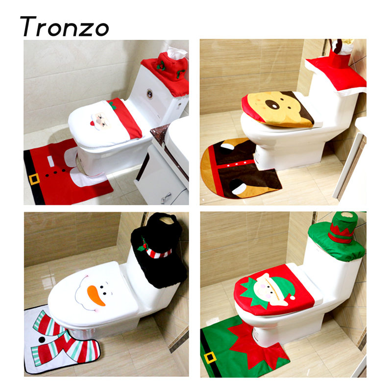Tronzo Christmas 2017 New Santa Claus Toilet Seat Cover And Rug Bathroom Set Decorations For
