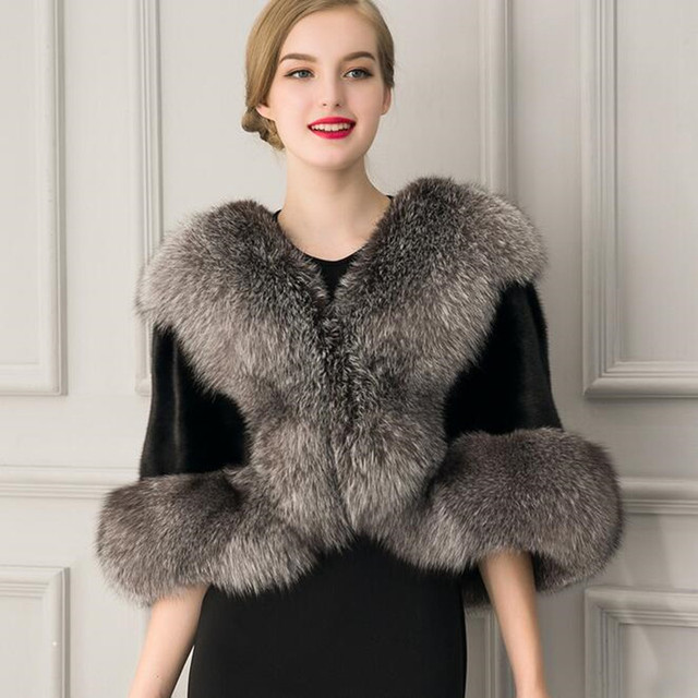 1c6eb9e66388 Wedding Coat Faux Fur Coat Veste Fourrure Stola Cape Women Bolero Femme  Mariage Evening Capes Winter Wedding Cape New Arrival