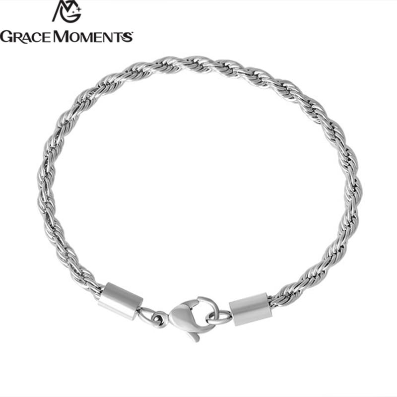 5pcs/lot 3mm Stainless Steel Bracelets Silver Tone Link