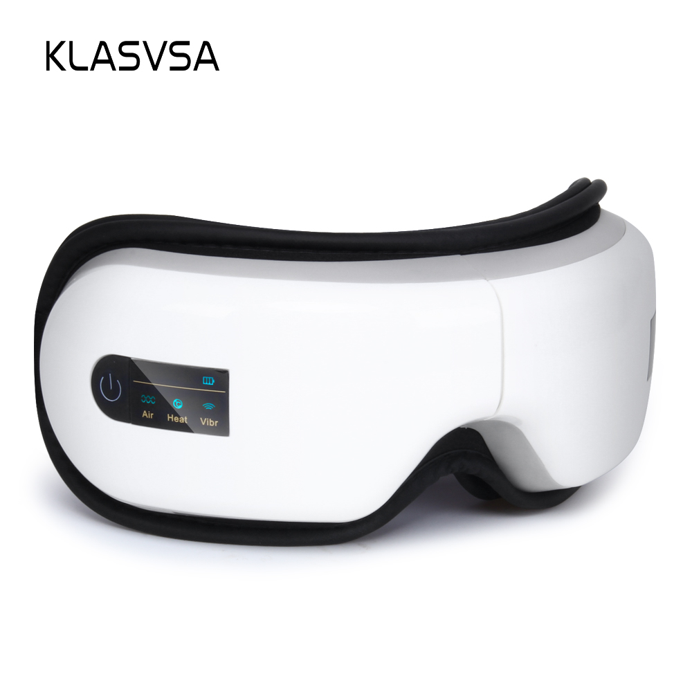 KLASVSA Electric Foldable Rechargeable Heating Airbag Eye Massager Therapy Air Pressure Hot Compress Health Care Relax Eye Mask eye massager eye mask electronic foldable rechargeable with pressure vbration heat music for dry eye relax