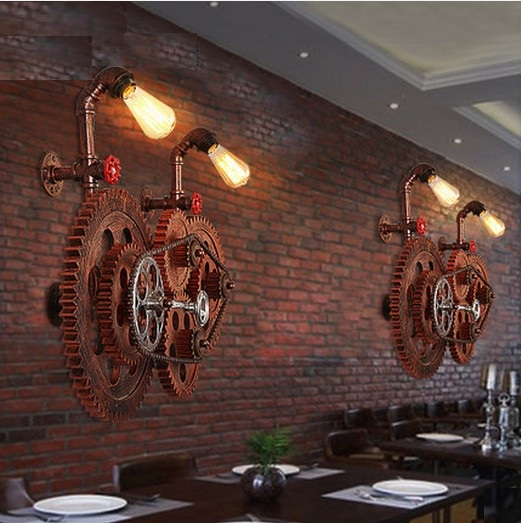Loft Style Industrial Gear Vintage Wall Light For Home Antique Water Pipe Lamp Bedside Edison Wall Sconce Lampara Pared