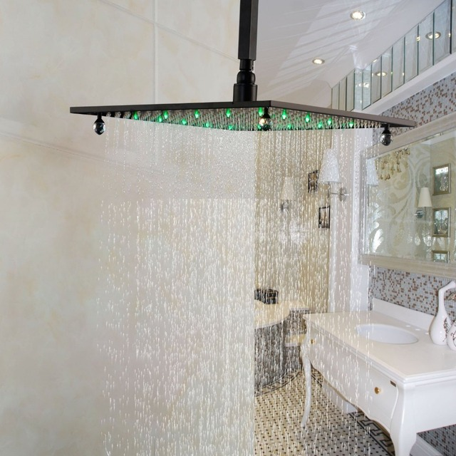 Bathroom 16 Inch Rainfall Shower Head Square Overhead Spray With LED