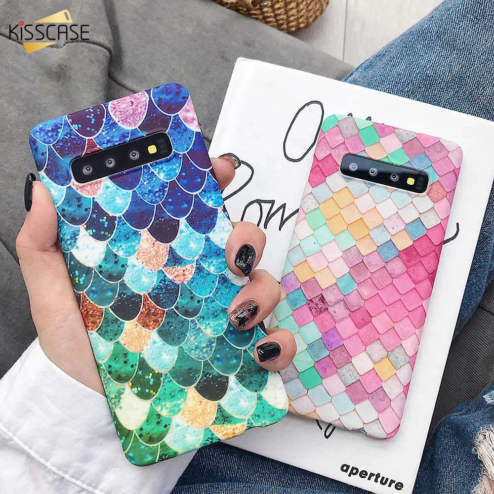 KISSCASE Phone Cases For Samsung Galaxy S10 5G S9 S8 Plus S10E Note 10 Fish Scale Luminous Case For Samsung A50 A30 A70 A7 2018
