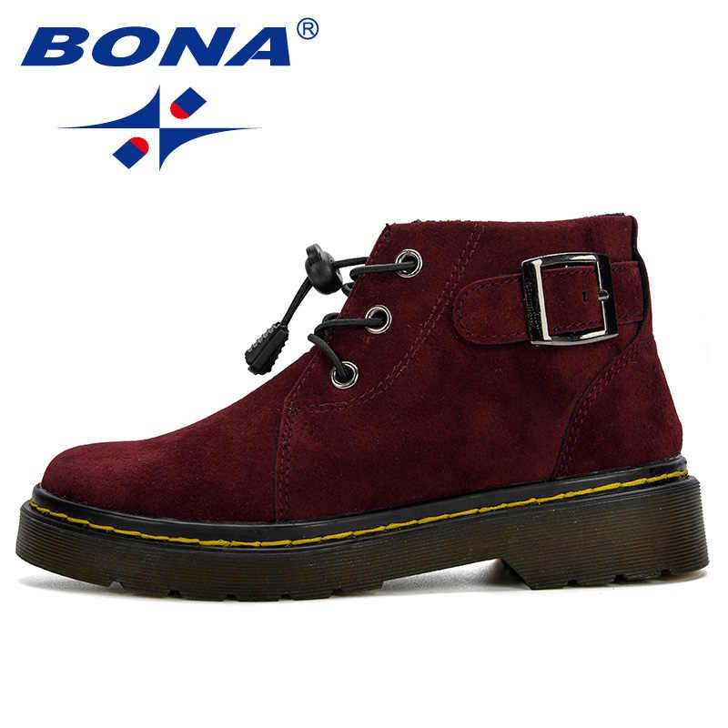 BONA nuevas botas Martin 2019 niños zapatos bandada primavera otoño niños botas moda cómodos niños botas calientes invierno botas