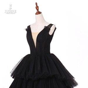 Image 5 - Jusere fotos reales negro gótico Maxi vestido de graduación vestidos de copa cansado falda vestido de noche con cola 2019 nuevo
