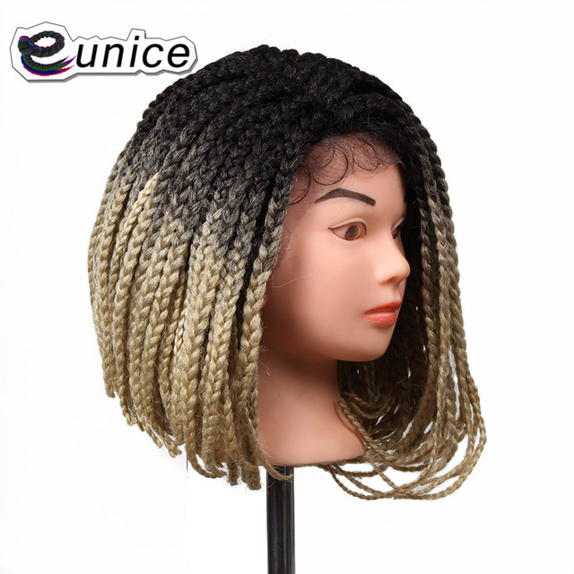 14 Inch 3x Box Braid Crochet Wig Synthetic Lace Front Bob Hairstyle Braided Wigs