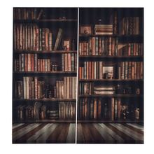 Bookcase Living Room Digital Print 3D Blackout Curtains Watercolor for Bedroom Decor Window Treatment Polyester Decoration(China)
