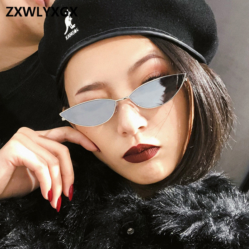 ZXWLYXGX 2018 new fashion sunglasses Women  metal retro colorful transparent small colorful Cat Eye Sunglasses UV400