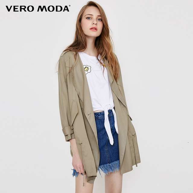 1ec66022cad5 Vero Moda Autumn casual style trench coat dropping tie-up middle-length  wind coat