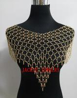 FREE SHIPPING NEW STYLE B715 Women Rock Fashion Gold Plated Chains Jewelry Unique Design Shawls Dressing