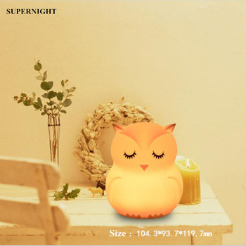 Owl LED Night Light Touch Sensor 9 Colors Desk Table Lamp Battery Powered Cartoon Silicone Bird for Children Kids Baby Gift