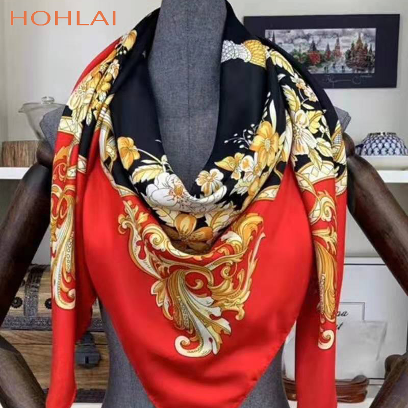 Twill Silk Scarf Women Large Shawls130cm *130cm Floral Printed Scarves Stoles Square Bandana Luxury Brand Scarf Female Foulards