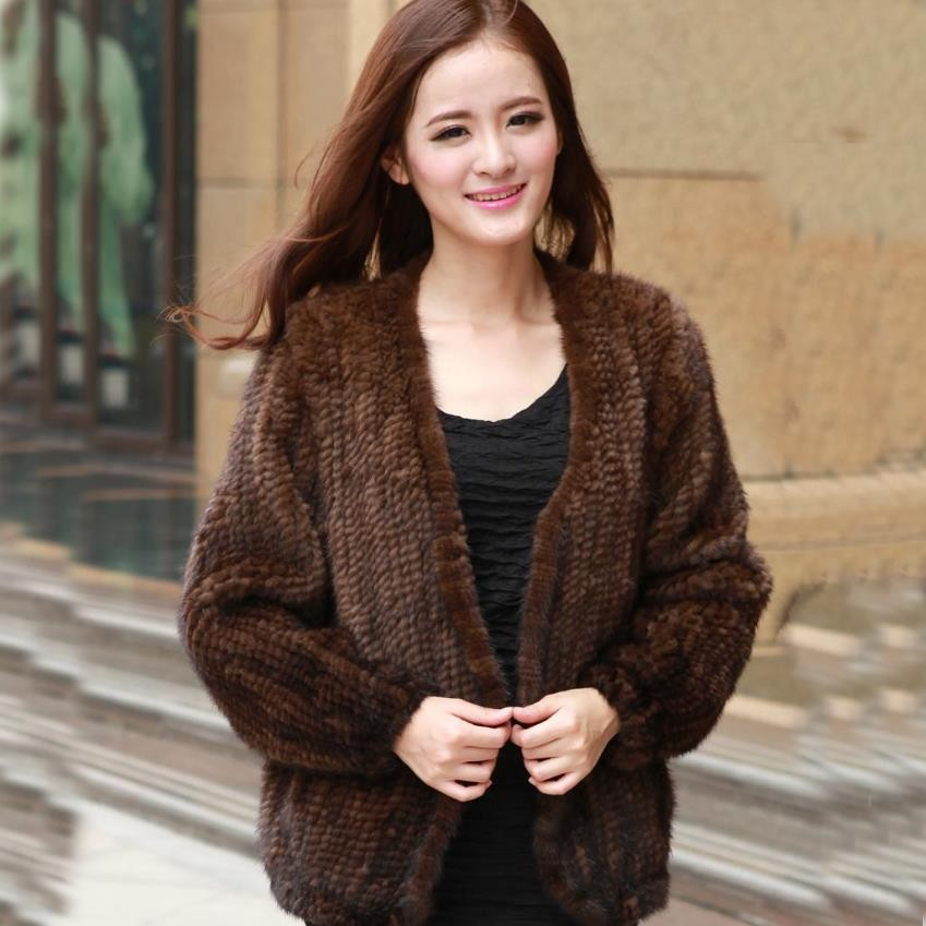 winter Christmas mom gift genuine mink fur knitted coat fashion 3XL 4XL black coffee warm women mink fur outerwear