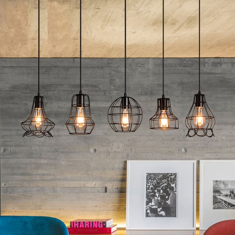 Vintage Industrial Retro Pendant Lamp Edison Light E27 Holder Iron Restaurant Bar Counter Attic Bookstore Cage Lamp