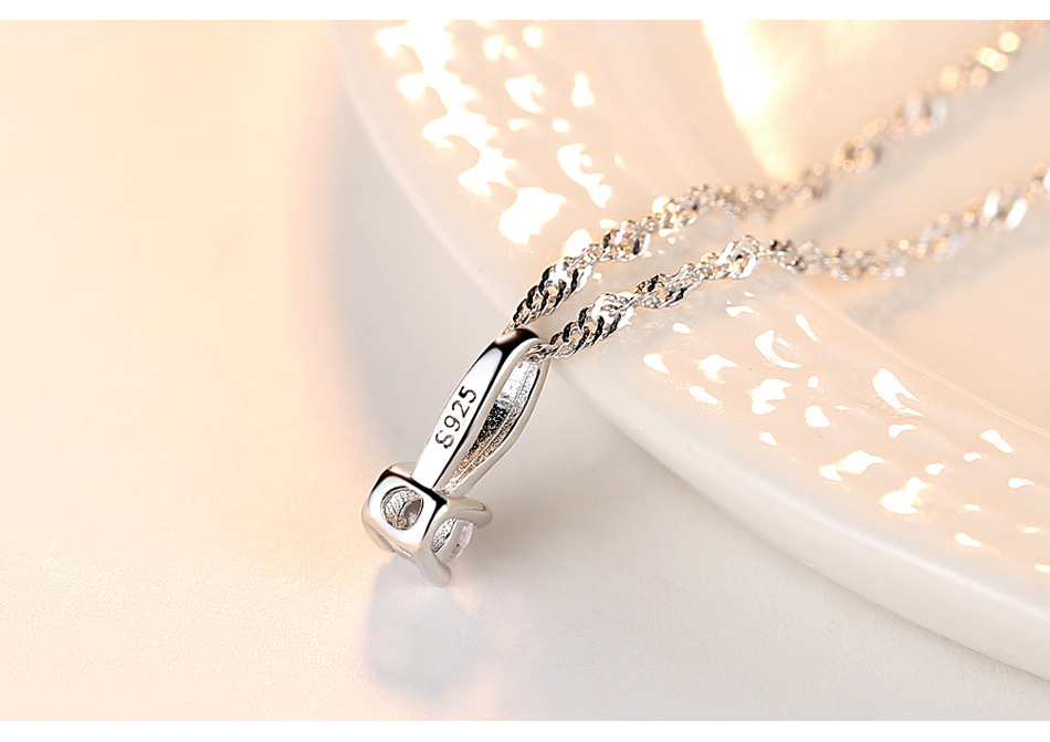 S925 sterling silver necklace water wave chain wild melon button pendant simple fashion accessories CAS925 sterling silver necklace water wave chain wild melon button pendant simple fashion accessories CA