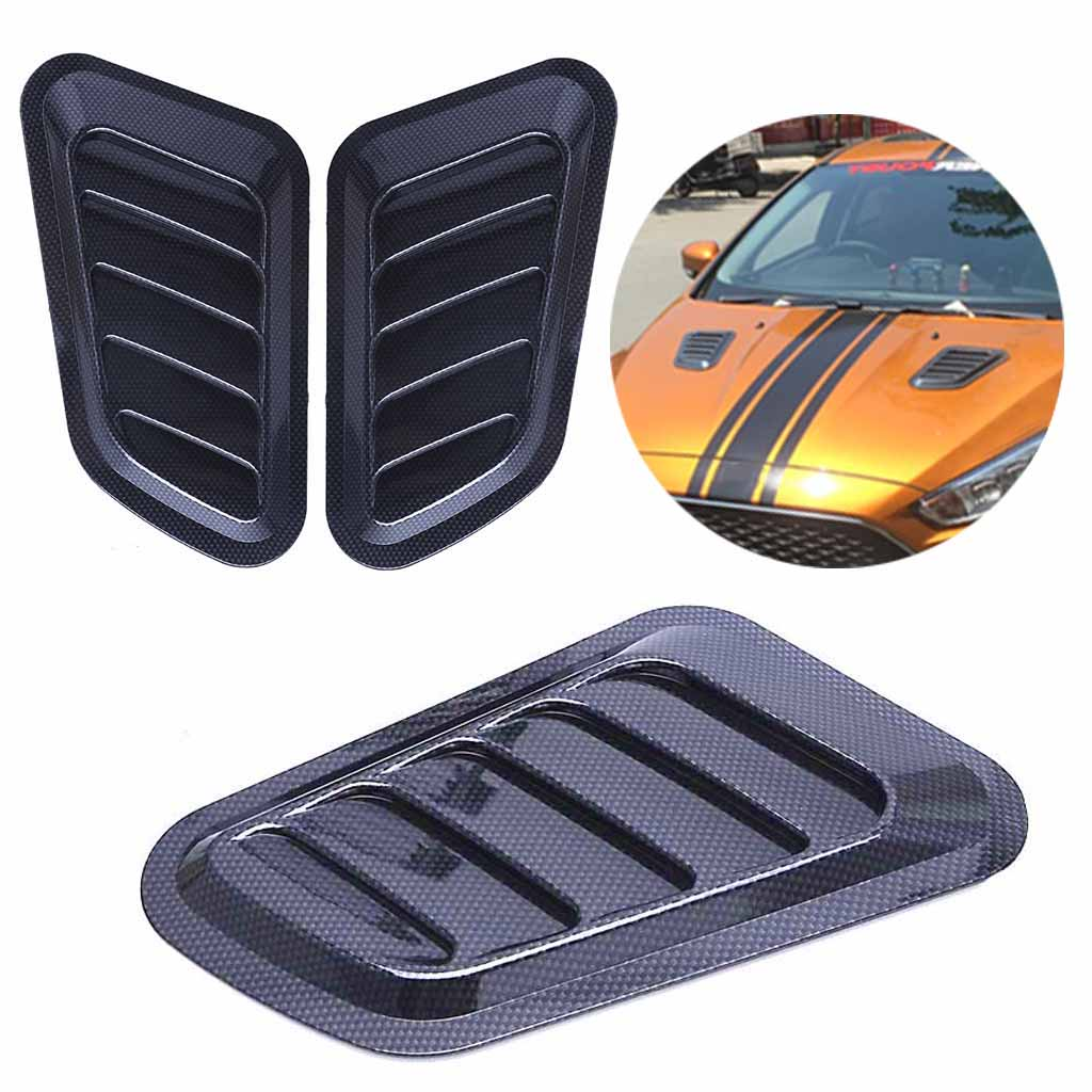 1 Paar Universele Auto Sticker Abs Decoratieve Air Flow Intake Bonnet Vent Cover Hood