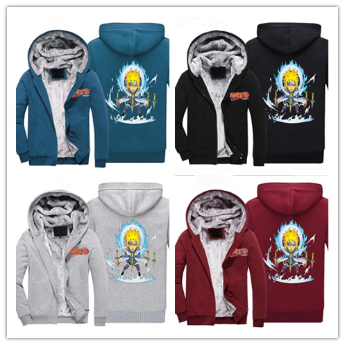 Anime naruto  Printed Upset to keep warm zipper hoodie  Sweatshirts Coat Unisex  Long Sleeve for maturer man