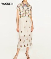 VOGUE N New Womens Summer Floral Embroidered Cape Sleeve Elastic Waist Midi Dress