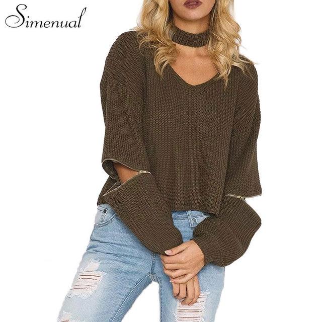 Cremallera gargantilla otoño corto suéter cosecha 2016 cremallera de la manera ata para arriba las mujeres sueltas suéteres y jerseys knitting jumper tops caliente