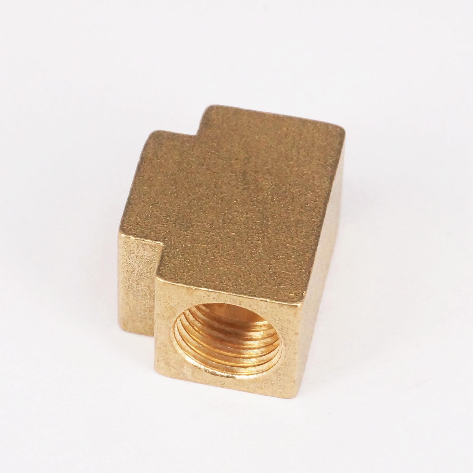 Tee 3 Ways Brass Pipe Fittings Equal Female Connector 1/4