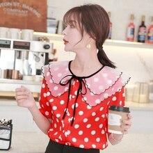 Summer Womens Shirt Polka Dot Ruffle Short Sleeve Chiffon Tops and Blouses Blusas