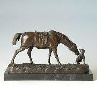 Atlie бронза боевой конь Европейский лошадей с собачкой скульптуры статуя животного Офис украшения