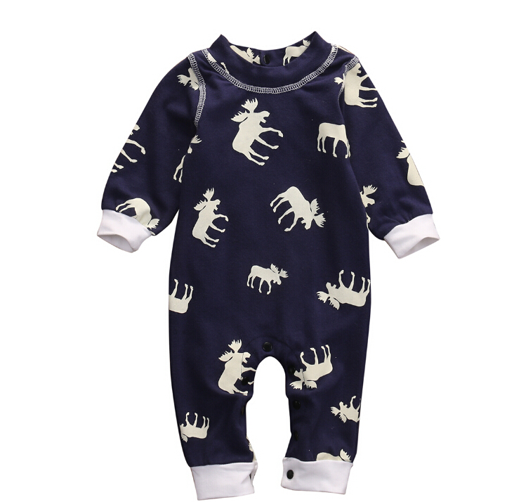 Long Sleeve Romper Jumpsuit Pajamas XMAS Clothing Warm Outfits AU Cute Toddler Infant Baby Girl Boy Xmas Clothes 3pcs set newborn infant baby boy girl clothes 2017 summer short sleeve leopard floral romper bodysuit headband shoes outfits