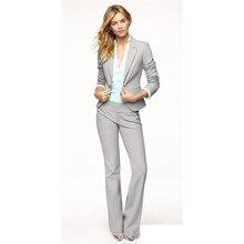 Light Gray Women Pants Suits Blazer Business Work Wear Uniforms Ladies Pant Trouser Suit Formal Blazer+Pants