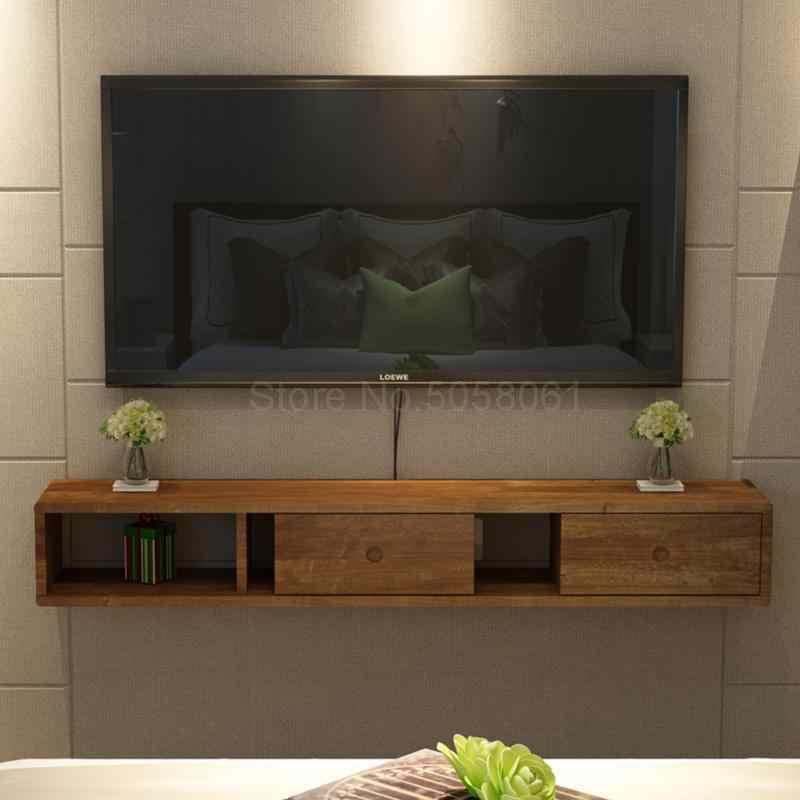 خشب متين الحائط خزانة التلفزيون الشمال غرفة نوم بسيطة غرفة المعيشة معلقة جدار فك التشفير رف خزانة التلفزيون حوامل التلفزيون Aliexpress