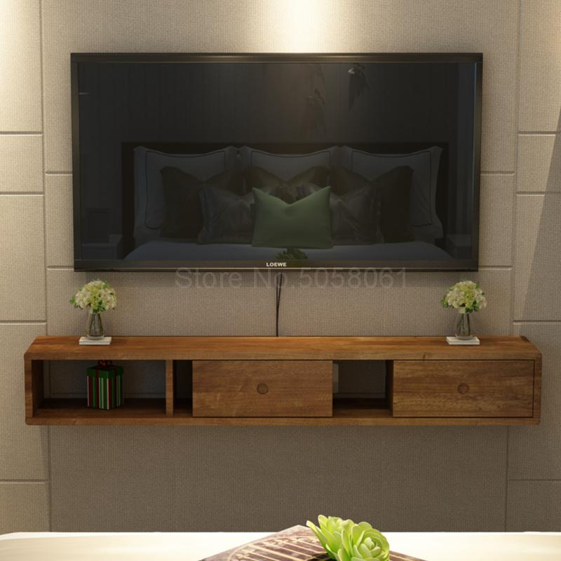 Solid Wood Wall Mounted Tv Cabinet