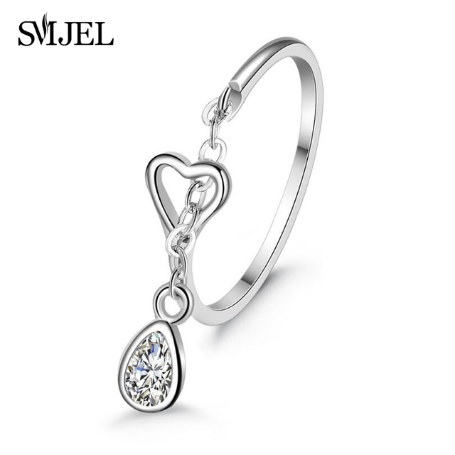 SMJEL New Silver Color Water Droplets Ring For Women Opening Adjustable Heart-sh