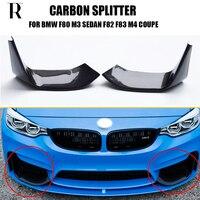 1 Pair M3 M4 Carbon Fiber Front Bumper Side Lip Splitter Apron for BMW F80 M3 Sedan F82 F83 M4 Coupe 2012 2019