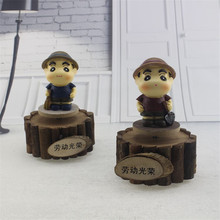 Vintage Wooden Music Box Rotary Cartoon Doll Rotation Mechanism Music Boxes For Sale Children Gift Wood Craft Musical Box