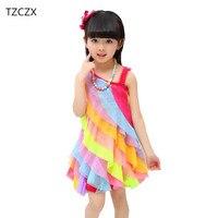 TZCZX 1pcs Summer New Children Girls Cute Beach Princess Rainbow Dress For 4 11 Years Old