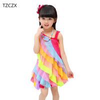 TZCZX 1pcs Summer New Children Girls Cute Beach Princess Rainbow Dress For 4 11 Years Old