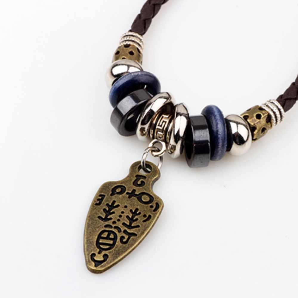 UBEAUTY кожаный шнур плетеное колье модные хипстерские винтажные мужские ожерелья унисекс сплав Подвески ожерелье s для женщин мужчин ювелирные изделия