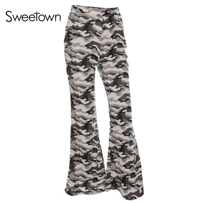 Sweetown Camouflage Flare Long Pants Women Sexy Elegant Street Style Pantalon Femme Elas ...