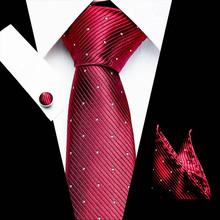 New Polka dot Silk Men Tie Set Floral Red Gold Ties and Handkerchiefs Cufflinks Mens Wedding Party Suit Fashion Neck