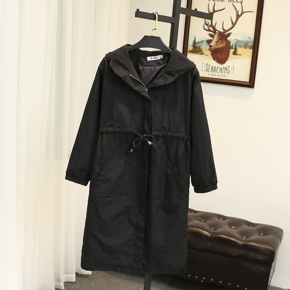 Spuer size 120KG   Trench   coat Women Spring autumn duster coat loose plus size tops long coat female windbreaker hooded cape woman