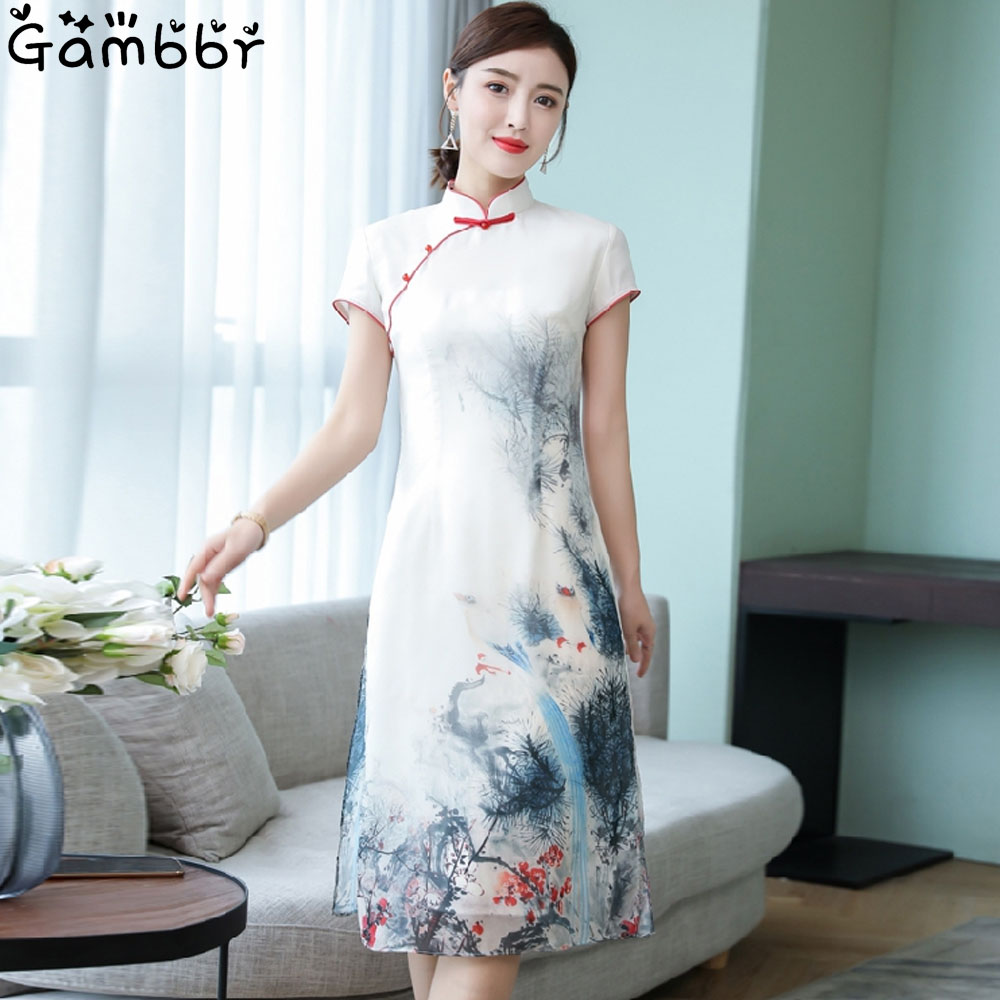 Summer Chinese Style Retro Cheongsam Short Qipao Vinatge Painting Printed Traditional Dress For Women Girl Short Sleeve Qi Pao